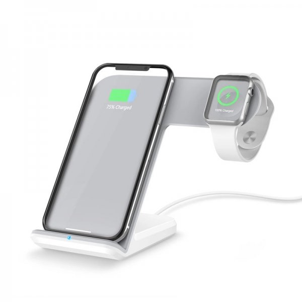 2 in 1 Wireless Charging Dock White