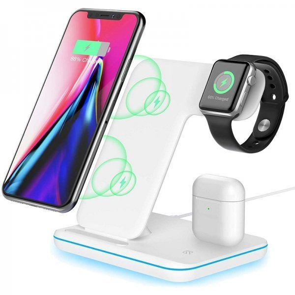 Premium 3 in 1 Wireless Charging Dock for iPhone, AirPods and Apple Watch White