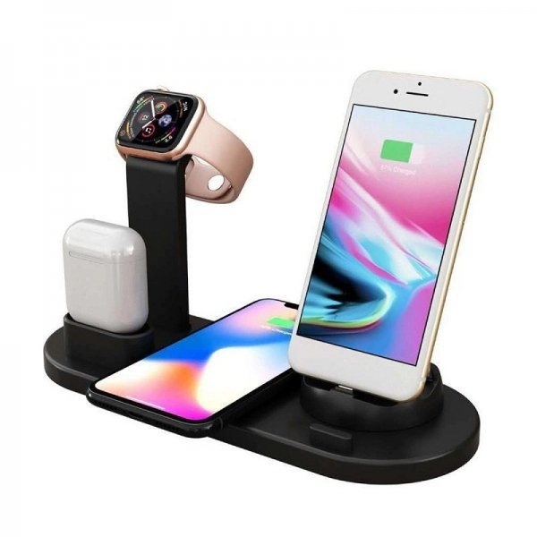 Premium 4 in 1 Wireless Charging Dock for Smart Phone, Apple Watch & AirPods - Black