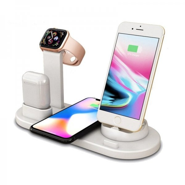 Premium 4 in 1 Wireless Charging Dock for Smart Phone, Apple Watch & AirPods - White