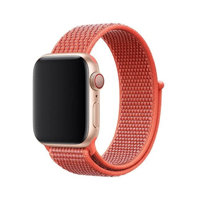 Woven Nylon Apple Watch Band - Coral