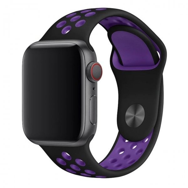 Breathable Silicone Sports Apple Watch Band - Black & Hyper Grape