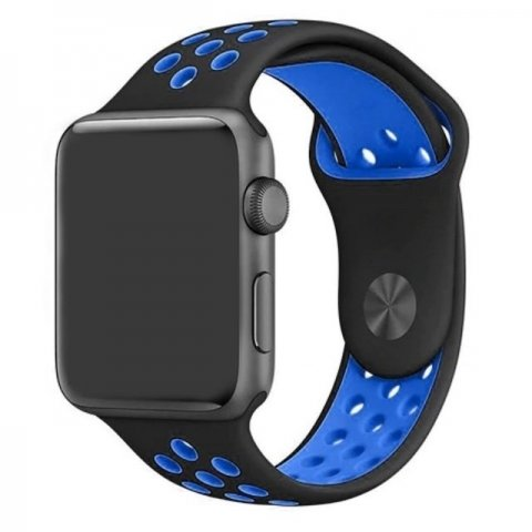 Breathable Silicone Sports Apple Watch Band - Black & Blue