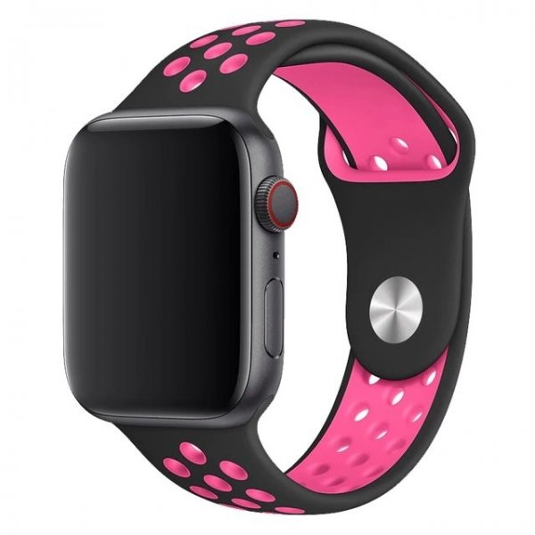 Breathable Silicone Sports Apple Watch Band - Black & Pink Blast