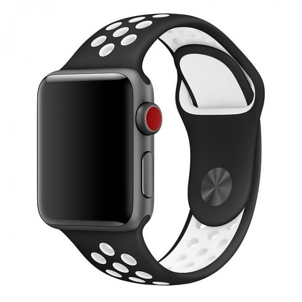 Breathable Silicone Sports Apple Watch Band - Black & White