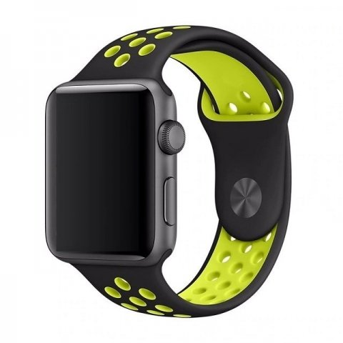 Breathable Silicone Sports Apple Watch Band - Black & Yellow