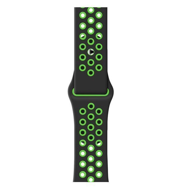 Breathable Silicone Sports Apple Watch Band - Black & Green