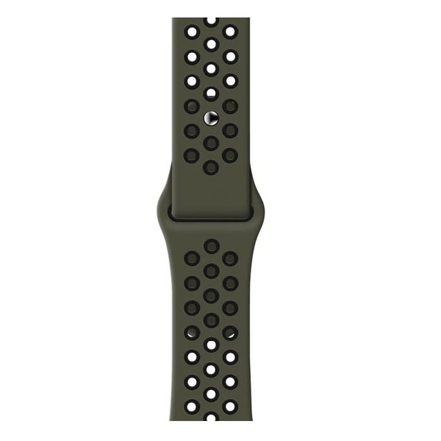 Breathable Silicone Sports Apple Watch Band - Cargo Green & Black