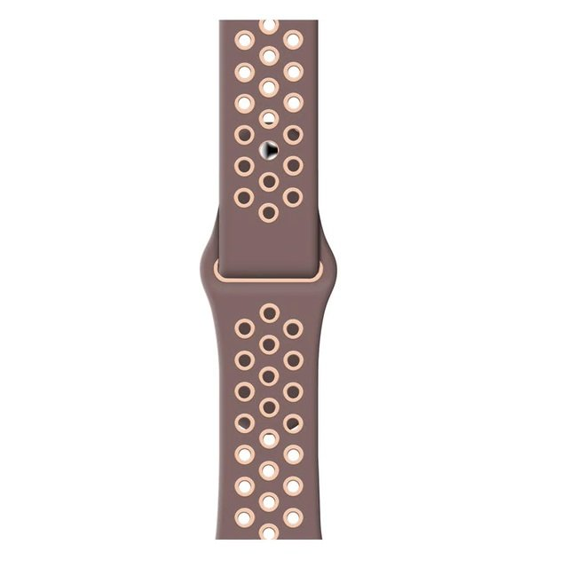 Breathable Silicone Sports Apple Watch Band - Smokey Mauve & Particle Beige