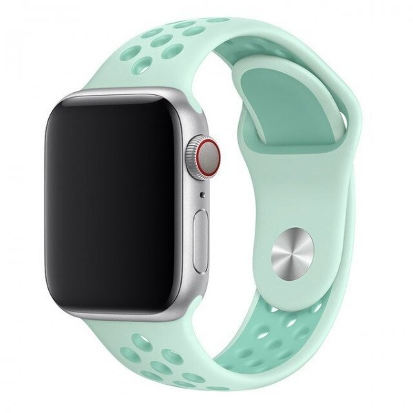 Breathable Silicone Sports Apple Watch Band - Teal Tint/Tropical Twist