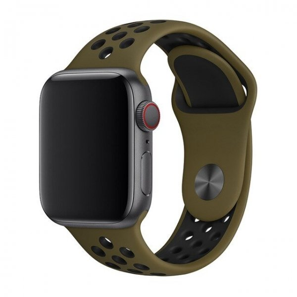Breathable Silicone Sports Apple Watch Band - Olive Flak & Black