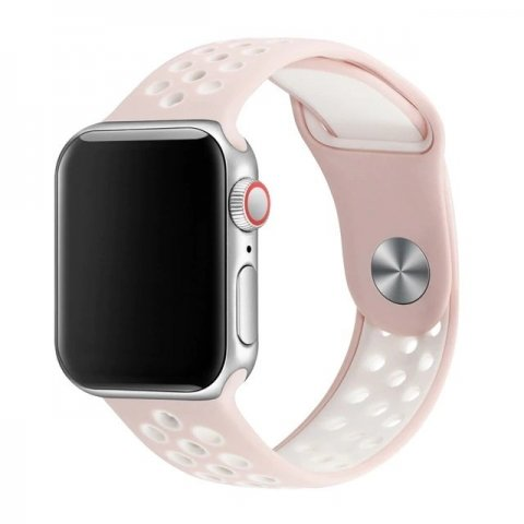Breathable Silicone Sports Apple Watch Band - Pink & White