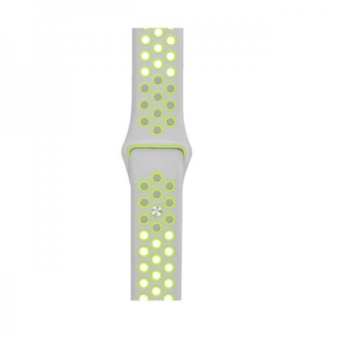 Breathable Silicone Sports Apple Watch Band - Silver & Yellow