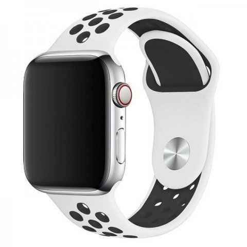Breathable Silicone Sports Apple Watch Band - White & Black