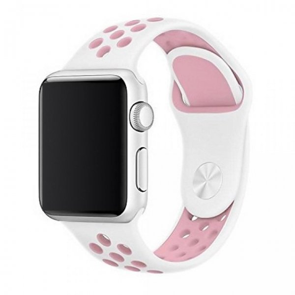 Breathable Silicone Sports Apple Watch Band - White & Pink