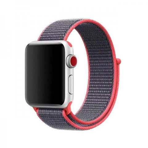 Sporty Mix Woven Nylon Apple Watch Band - Coral
