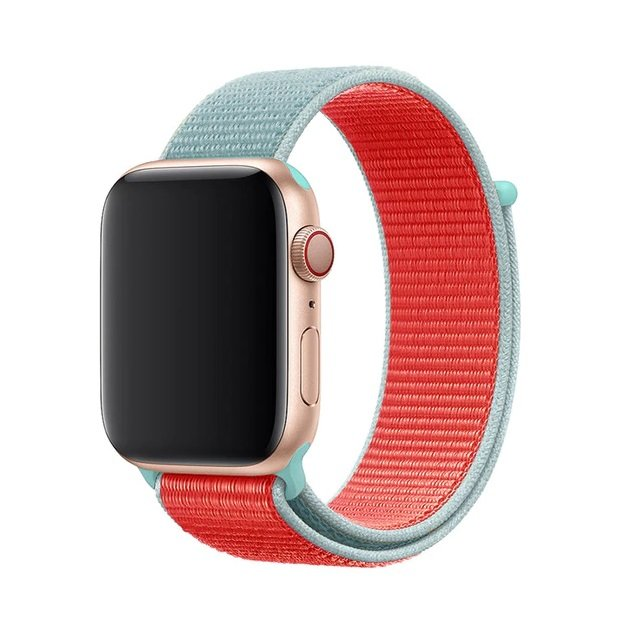 Woven Nylon Apple Watch Band - Two Tone Mint & Red