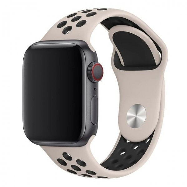 Breathable Silicone Sports Apple Watch Band - Desert Sand & Black