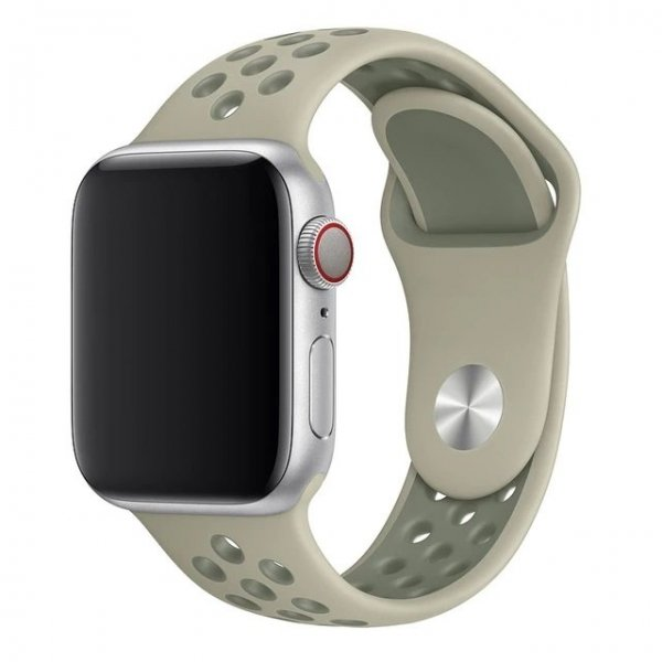 Breathable Silicone Sports Apple Watch Band - Spruce Fog & Vintage Lichen